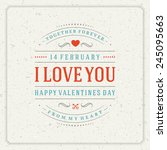 happy valentine's day vintage... | Shutterstock .eps vector #245095663