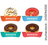 four donuts with frames for...   Shutterstock .eps vector #245096500
