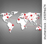 world map with red point marks...   Shutterstock .eps vector #245096674