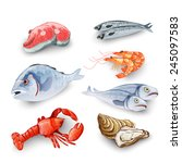 seafood products set with... | Shutterstock .eps vector #245097583