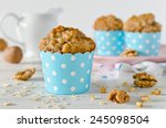 Banana Muffins With Oatmeal An...
