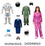 astronaut girl character pack... | Shutterstock .eps vector #245098963