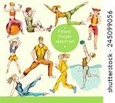fitness people sport training...   Shutterstock .eps vector #245099056