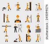 construction worker character... | Shutterstock .eps vector #245099074