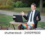 focused businessman. attractive ... | Shutterstock . vector #245099830