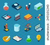 isometric science 3d icons set... | Shutterstock .eps vector #245101240