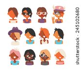 people avatars set  different... | Shutterstock .eps vector #245102680