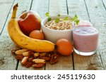 healthy breakfast on the... | Shutterstock . vector #245119630