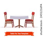 round dinner table for two with ... | Shutterstock .eps vector #245121694