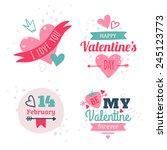 set of happy valentine's day ... | Shutterstock .eps vector #245123773