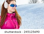 beautiful woman wearing goggles ... | Shutterstock . vector #245125690