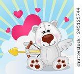 cupid polar bear with a bow on... | Shutterstock .eps vector #245125744