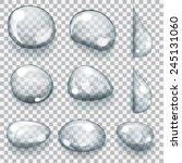 set of transparent gray drops... | Shutterstock .eps vector #245131060