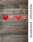 love hearts hanging on rope on... | Shutterstock . vector #245131336