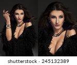 delicate brunette woman in a...   Shutterstock . vector #245132389
