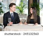 smiling romantic couple in love ... | Shutterstock . vector #245132563