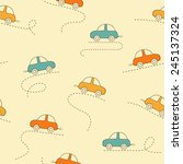 seamless pattern with cars | Shutterstock .eps vector #245137324