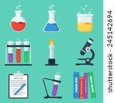 set of flat chemistry vector... | Shutterstock .eps vector #245142694