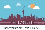 new zealand skyline silhouette... | Shutterstock .eps vector #245145790
