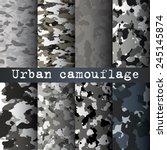 8 Urban Camo Patterns Set Vector