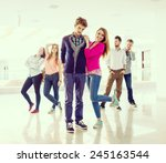 cheerful students standing in... | Shutterstock . vector #245163544