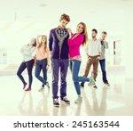 cheerful students standing in... | Shutterstock . vector #245163544