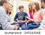business friends discussing... | Shutterstock . vector #245163568