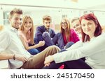 group of young people sitting...   Shutterstock . vector #245170450
