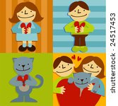 set of persons and a cat with... | Shutterstock .eps vector #24517453