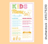 kids menu. vector template.   Shutterstock .eps vector #245175250