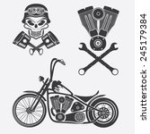 bikers theme labels with... | Shutterstock .eps vector #245179384