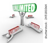 unlimited word lifted by a man... | Shutterstock . vector #245181064