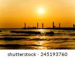 sunset at the beach on koh larn ...   Shutterstock . vector #245193760
