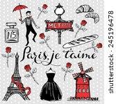 hand drawn romantic paris set... | Shutterstock .eps vector #245196478