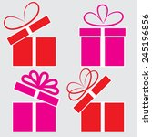 the gift box on a gray... | Shutterstock .eps vector #245196856