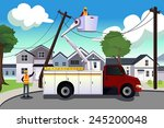 a vector illustration of worker ... | Shutterstock .eps vector #245200048