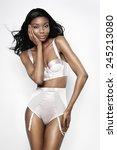 african model wearing pink silk ... | Shutterstock . vector #245213080