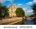 notre dame cathedral at late... | Shutterstock . vector #245214070