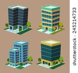 various cartoon style isometric ... | Shutterstock .eps vector #245214733