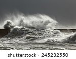 Stormy Wave Against Pier  Nort...