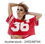 beautiful young cheerleader in... | Shutterstock . vector #245248744