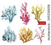 Watercolor  Corals  Set  Spong...