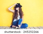 beautiful carefree young casual ... | Shutterstock . vector #245252266