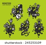 set of monster illustrations.... | Shutterstock .eps vector #245253109