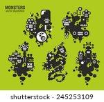 set of monster illustrations.... | Shutterstock .eps vector #245253109