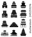 chinese japanese building icons ... | Shutterstock .eps vector #245253196