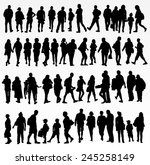 collection of people silhouettes | Shutterstock .eps vector #245258149