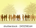 people silhouettes outdoors | Shutterstock .eps vector #245258164
