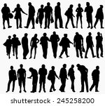 people silhouettes collection | Shutterstock .eps vector #245258200