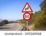curve on mountain road with a... | Shutterstock . vector #245260468